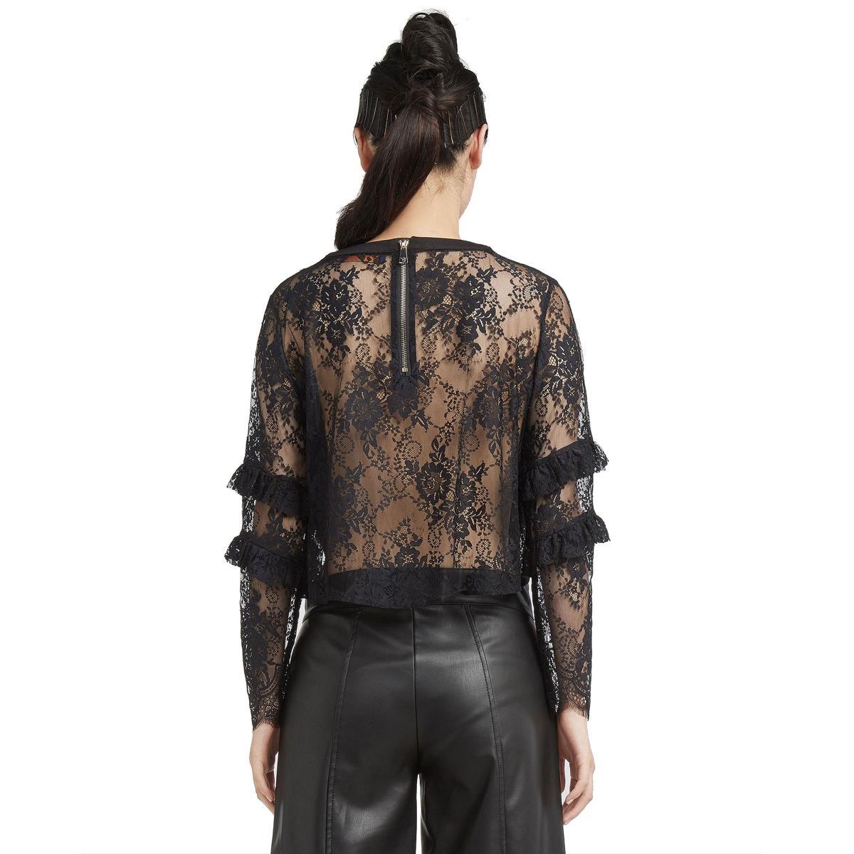 Camicia Blusa TRUSSARDI con pizzo semitrasparente da donna rif. 56C00112-1T001509