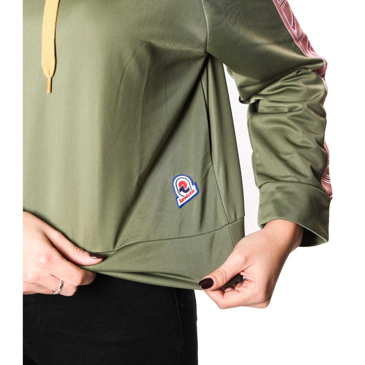 Felpa corta INVICTA con cappuccio e bande laterali da donna rif. 4454184DP