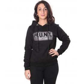 Felpa H.U.N.T. con cappuccio e logo frontale stampato con glitter da donna rif. HD092