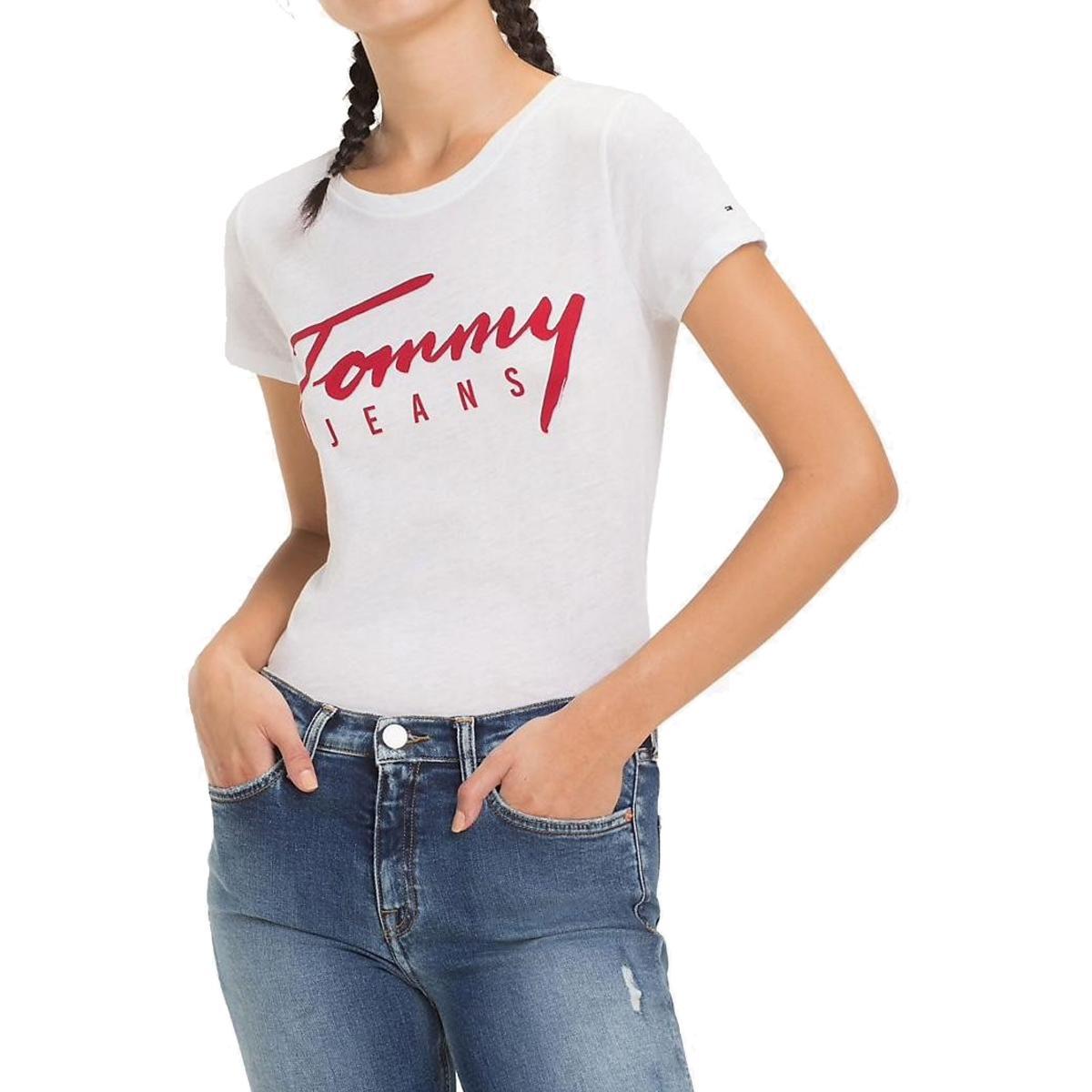 T-shirt Tommy Jeans slim fit con logo da donna rif. DW0DW05700