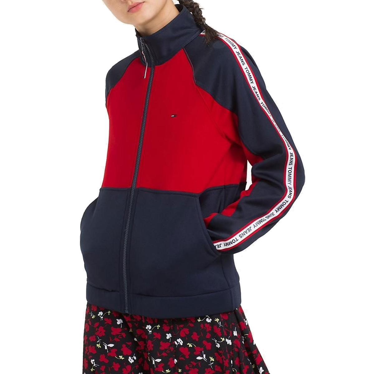 Felpa Tommy Jeans con bande laterali color block da donna rif. DW0DW05699