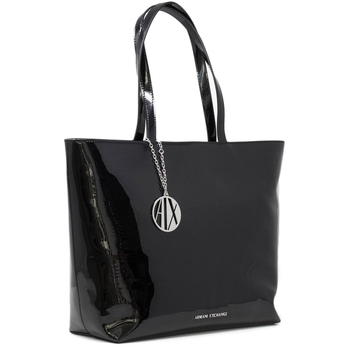 Borsa Armani Exchange Shopping Bag in vernice da donna rif. 942426 CC713
