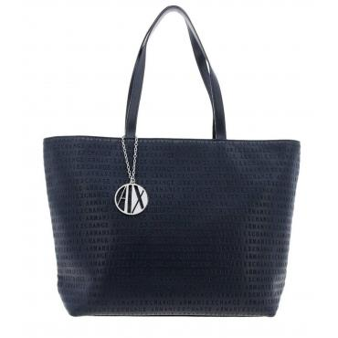 Borsa Armani Exchange Shopping con logo inciso all over da donna rif. 942426 CC714