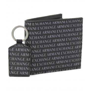 Set Portafoglio e portachiavi Armani Exchange in pelle da uomo rif. 958102 CC230