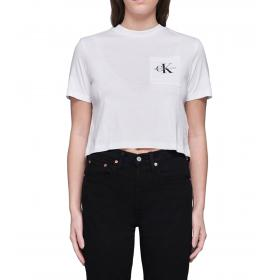 T-shirt Calvin Klein Jeans Monogram Cropped Pocket Tee da donna rif. J20J209736