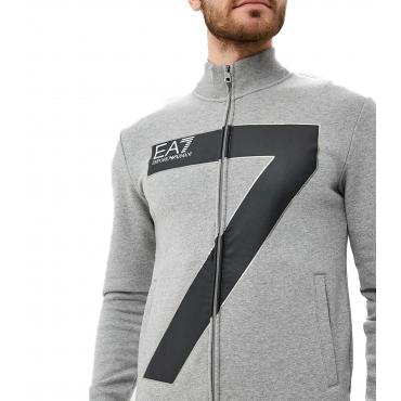 Felpa con zip e stampa logo Emporio Armani EA7 da uomo Rif. 6ZPM48 PJ07Z
