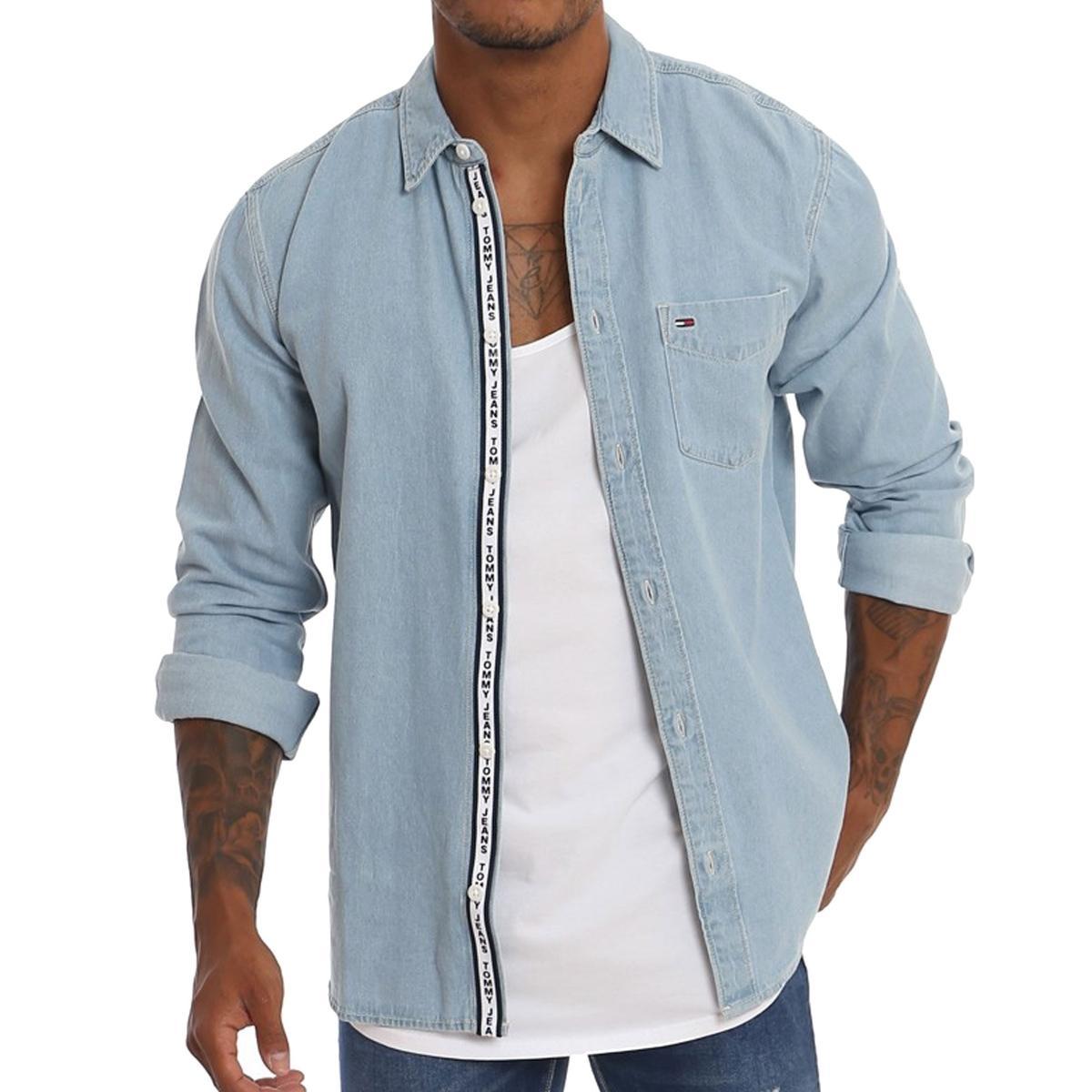 Camicia Tommy Jeans in denim da uomo rif. DM0DM05206