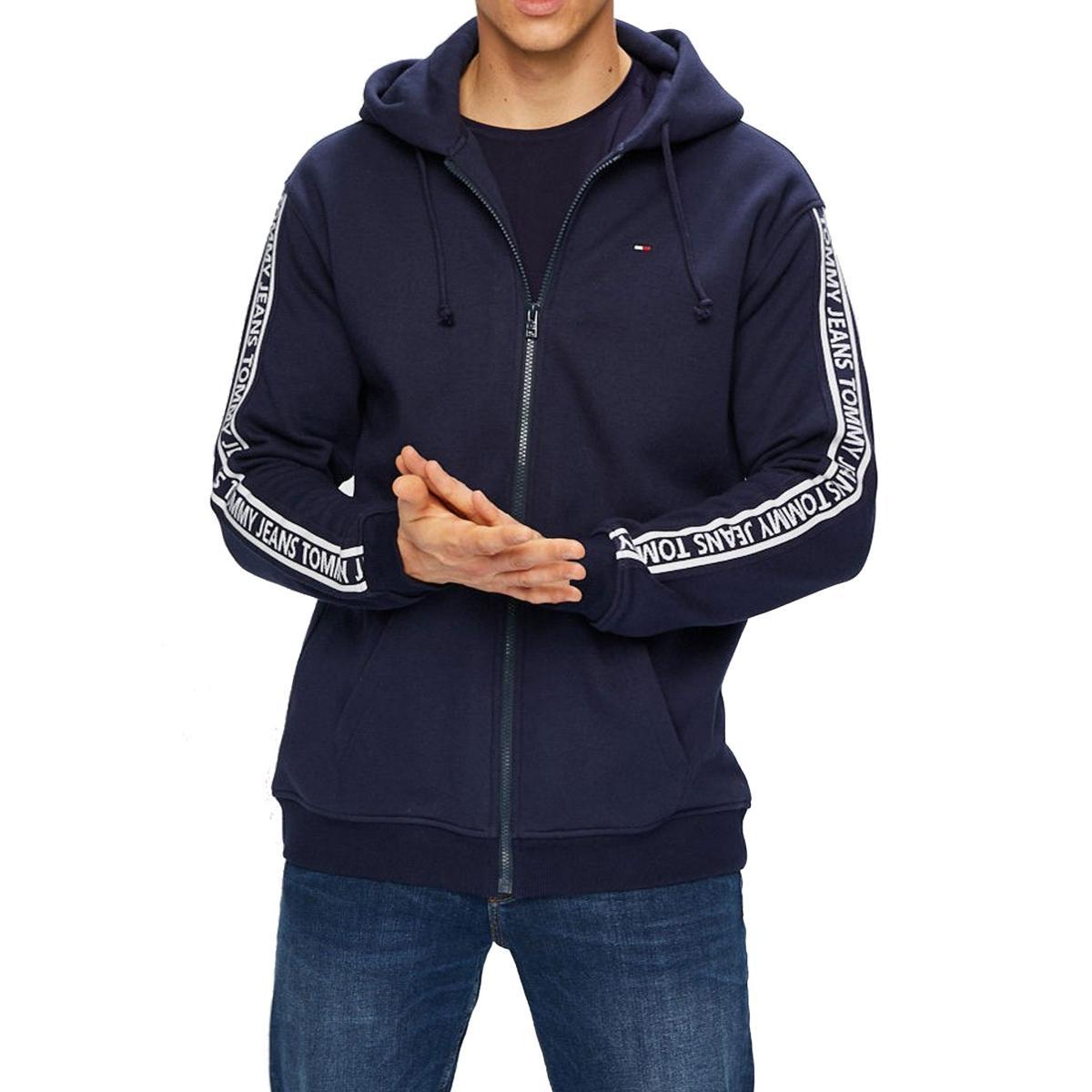 Felpa Tommy Jeans con zip e logo sulle maniche da uomo rif. DM0DM05173