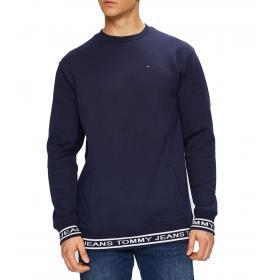 Felpa Tommy Jeans con polsini e fondo con logo ripetuto da uomo rif. DM0DM05159