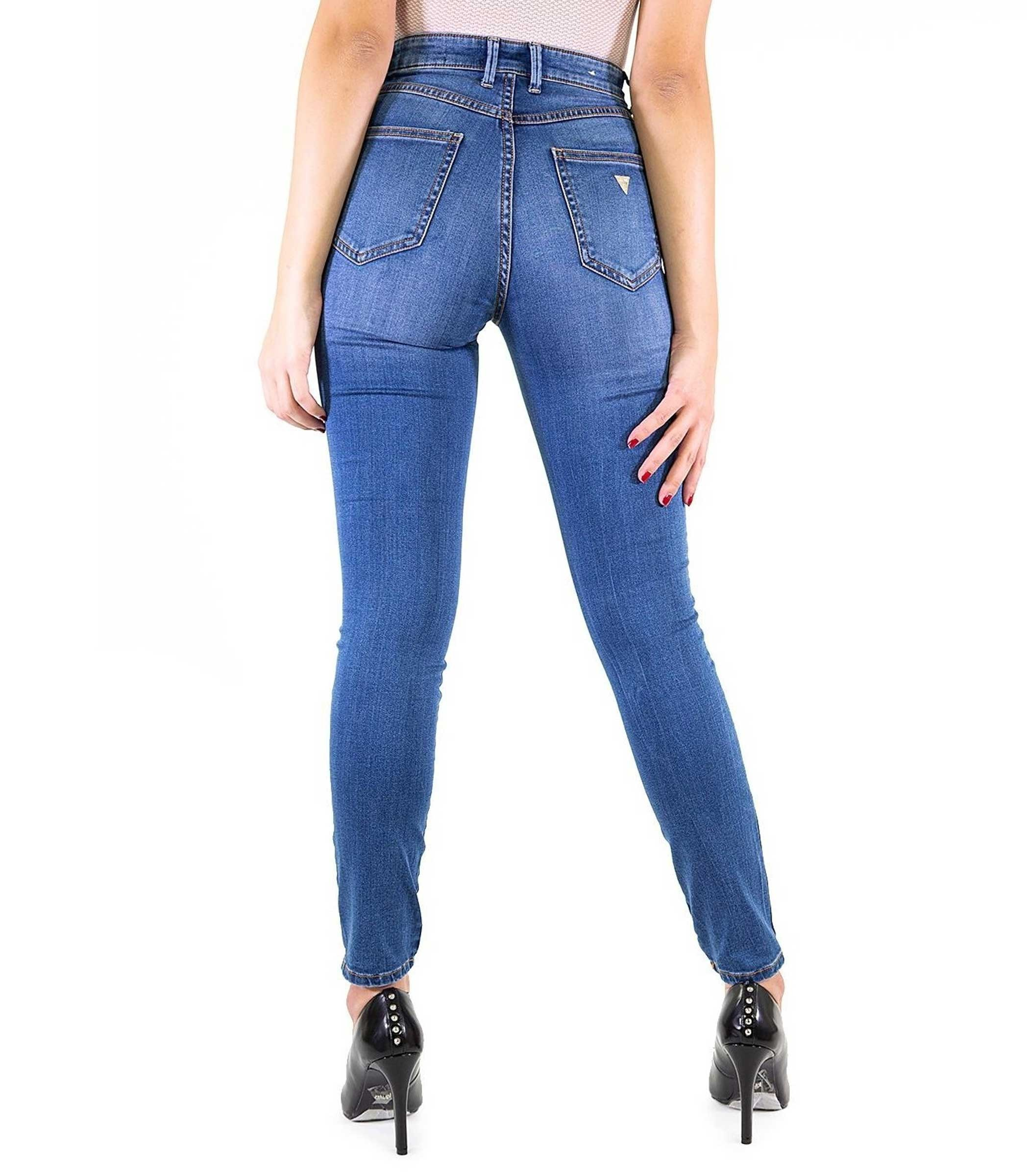 64ef747d7a6854 Jeans Guess 1981 originale vita alta da donna rif. W83A46D38N0