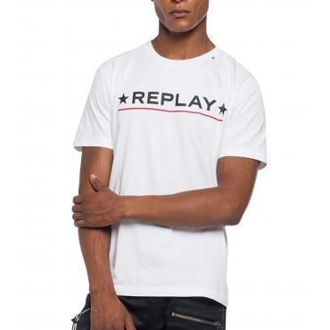 T-shirt Replay cotone compact logo da uomo rif. M3626 .000 22584
