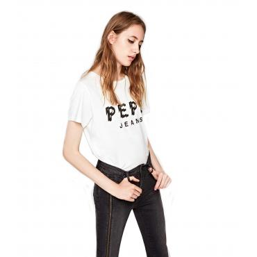"""T-shirt girocollo con stampa logo Pepe Jeans """"Minerva"""" da donna rif. PL503871"""