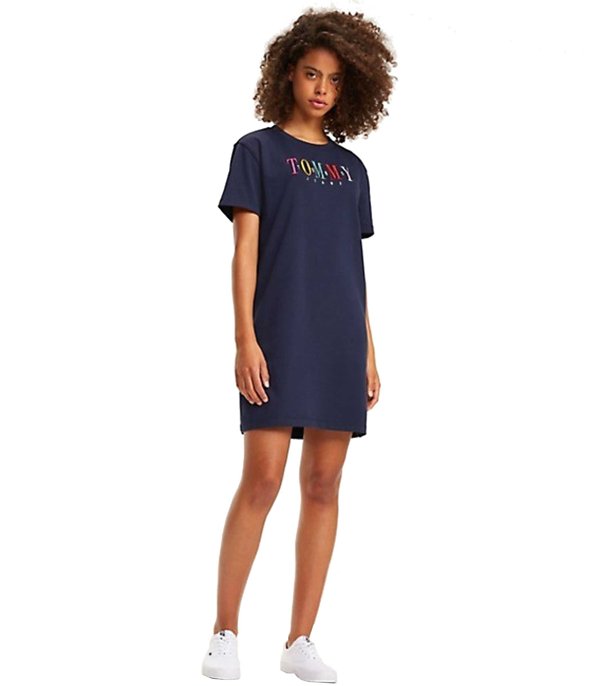 finest selection 08abf 9a2ee Abito t-shirt Tommy Jeans in puro cotone da donna rif ...