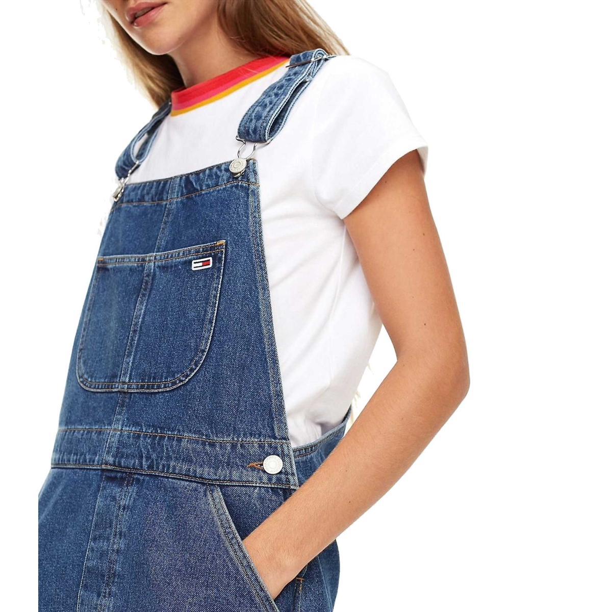 Abito salopette Tommy Jeans in denim rigido da donna rif. DW0DW06325