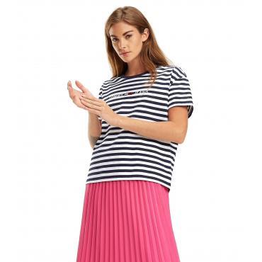 T-shirt Tommy Jeans crop in puro cotone da donna rif. DW0DW06218