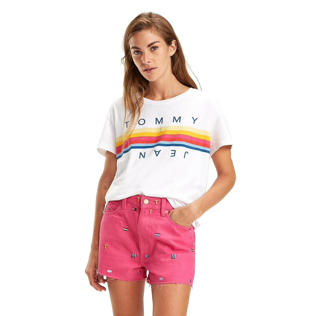 T-shirt Tommy Jeans crop a righe multicolori da donna rif. DW0DW06501