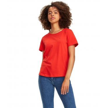 T-shirt Tommy Jeans in cotone con patch bandierina da donna rif. DW0DW05938