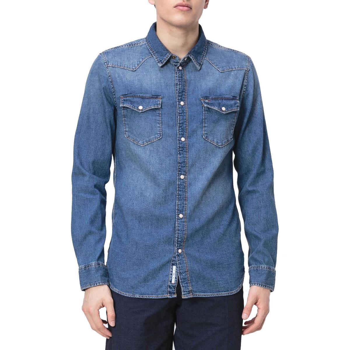 Camicia Tommy Jeans Western denim da uomo rif. DM0DM06155