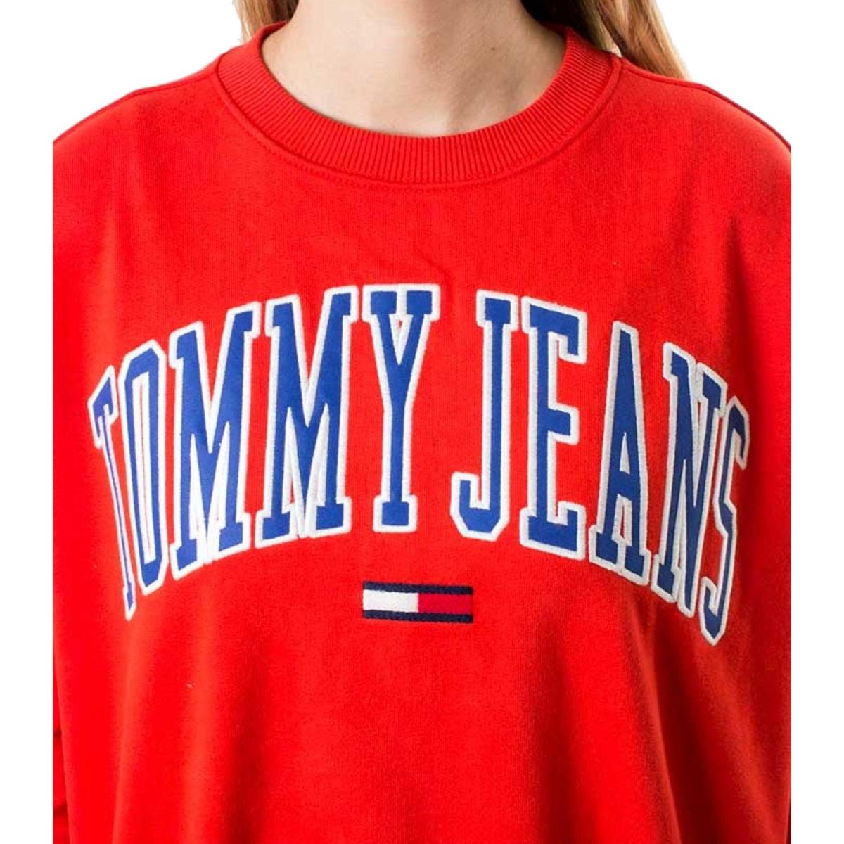 Felpa Tommy Jeans girocollo con stampa da donna rif. DW0DW06523