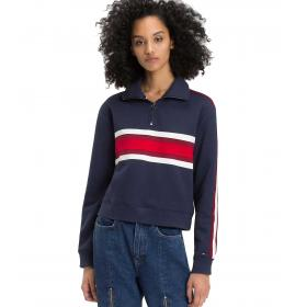 Felpa Tommy Jeans color block con zip da donna rif. DW0DW05109