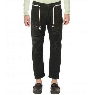 Jeans OUTFIT nero con strappi sulle gambe da uomo rif. OF1S1S9D004