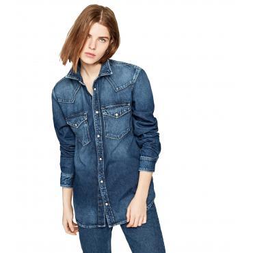 Camicia Pepe Jeans denim blu kiss oversize da donna rif. PL303568GP7