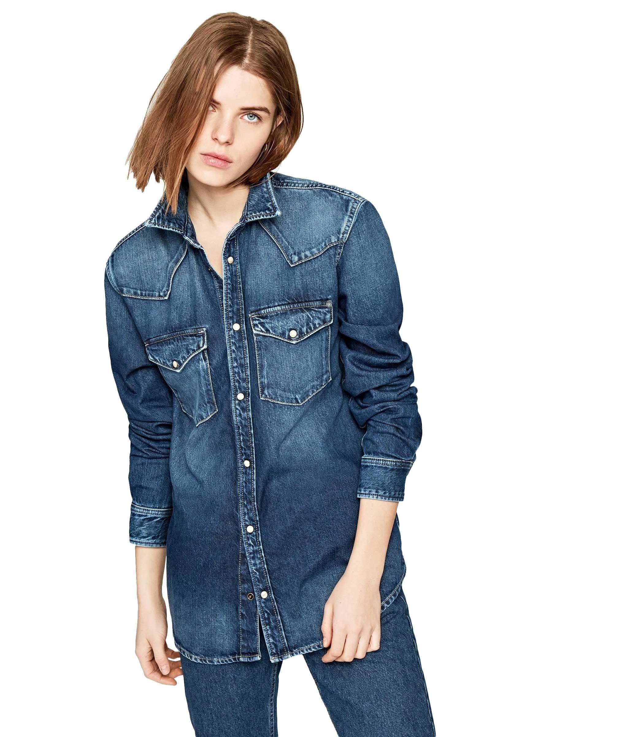 buy popular 3fb29 c58be Camicia Pepe Jeans denim blu kiss oversize da donna rif ...