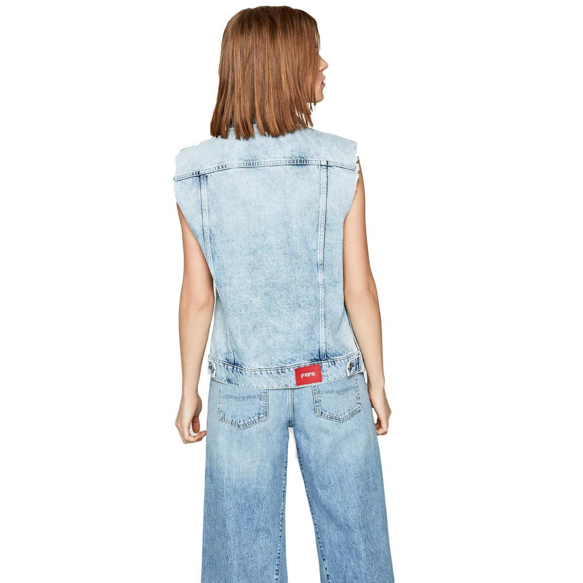 Smanicato Gilet Pepe Jeans vintage in jeans Maria da donna rif. PL401664