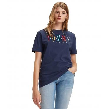 T-shirt Tommy Jeans con logo color block da donna rif. DW0DW06225
