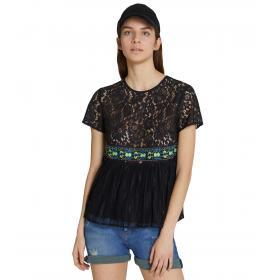 Camicia Blusa Trussardi regular fit con pizzo ricamato da donna rif. 56C00199 1T002280