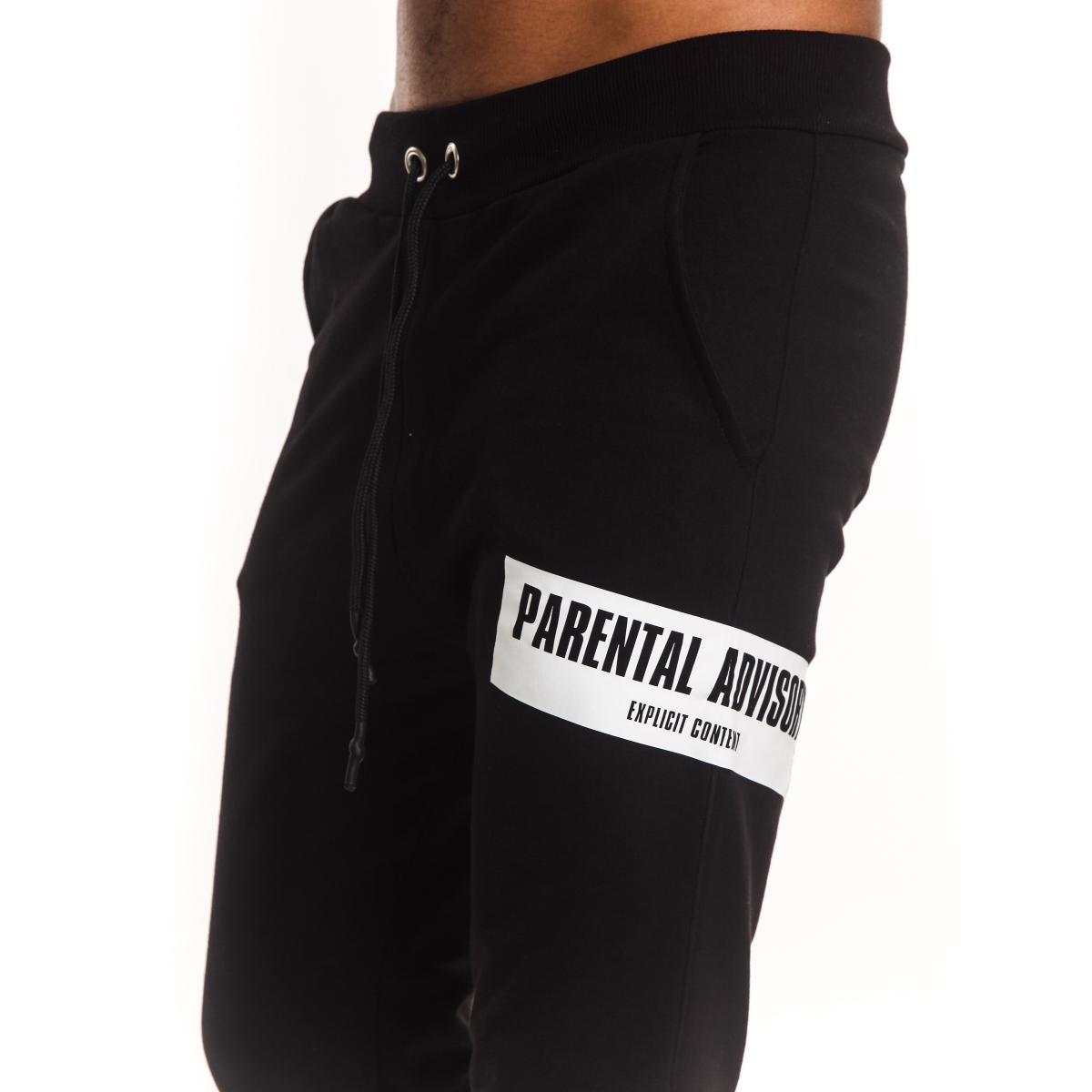 Pantalone tuta Parental Advisory con stampa ed elestici al fondo da uomo rif. AD952U