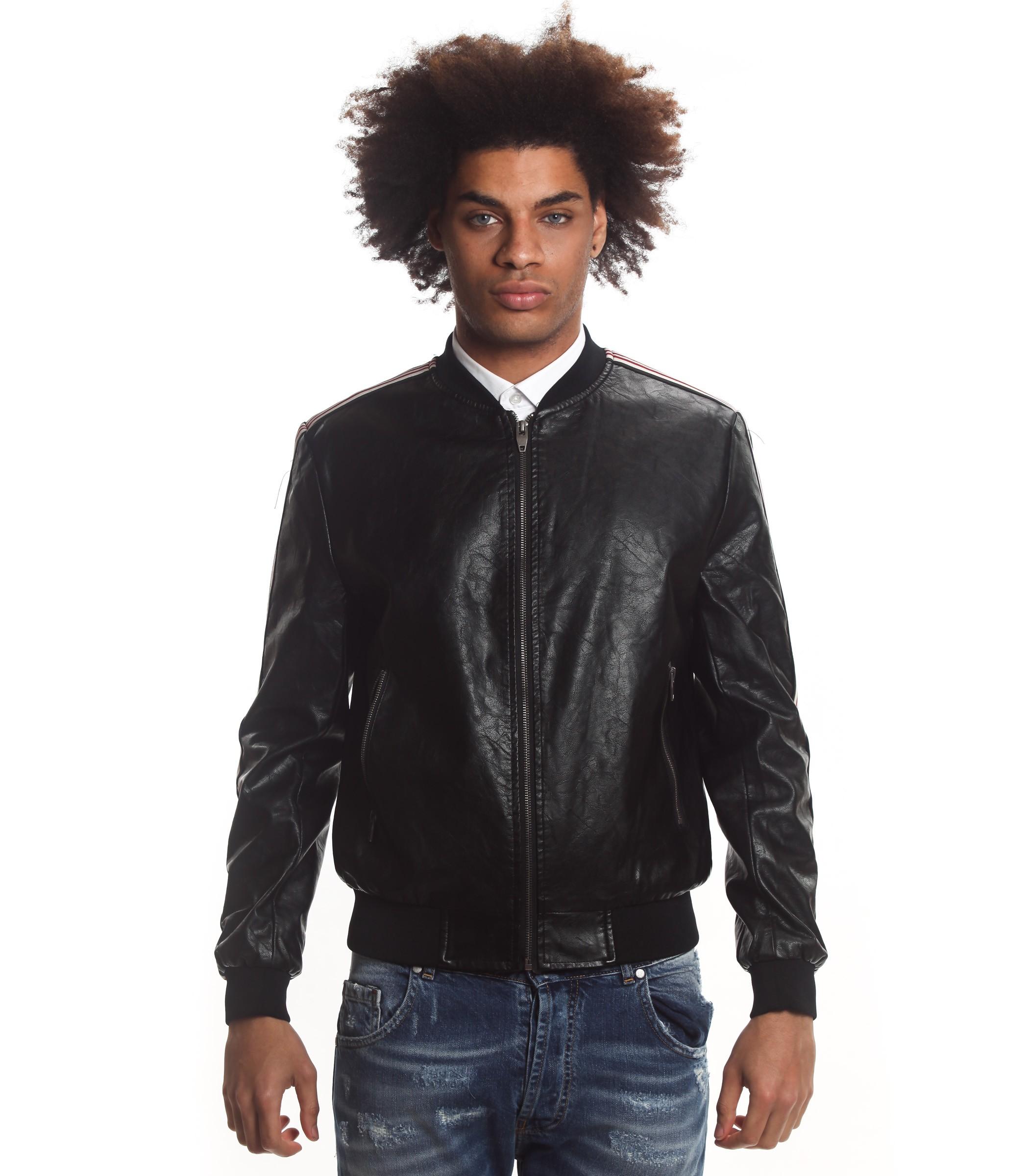online store d3fba 584f5 Giubbotto Over-D giacca in ecopelle con bande laterali da ...