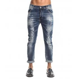 Jeans Over-D slim fit effetto slavato denim blu da uomo rif. KING