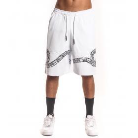 Bermuda shorts White bianco con stampa nera da uomo rif. W19249