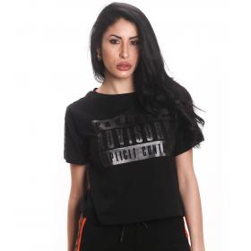 T-shirt Parental Advisory con scollo tondo e stampa logo da donna rif. AD205D