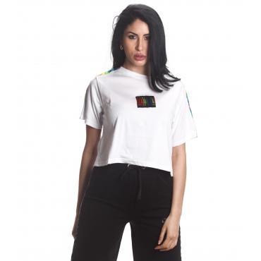 T-shirt Parental Advisory corta con bande laterali arcobaleno da donna rif. AD208D