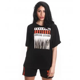 T-shirt Parental Advisory con scollo tondo e stampa logo da donna rif. AD212D