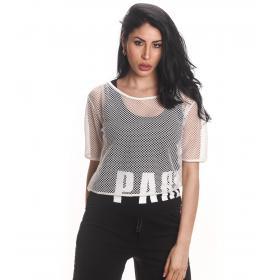 T-shirt forata con canotta Parental Advisory con stampa da donna rif. AD216D