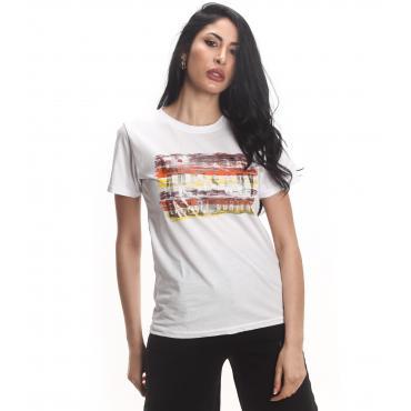 T-shirt Parental Advisory con scollo tondo e stampa logo da donna rif. AD219D