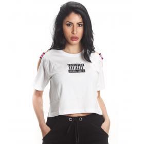 T-shirt Parental Advisory corta con spalle scoperte ed elastici da donna rif. AD234D