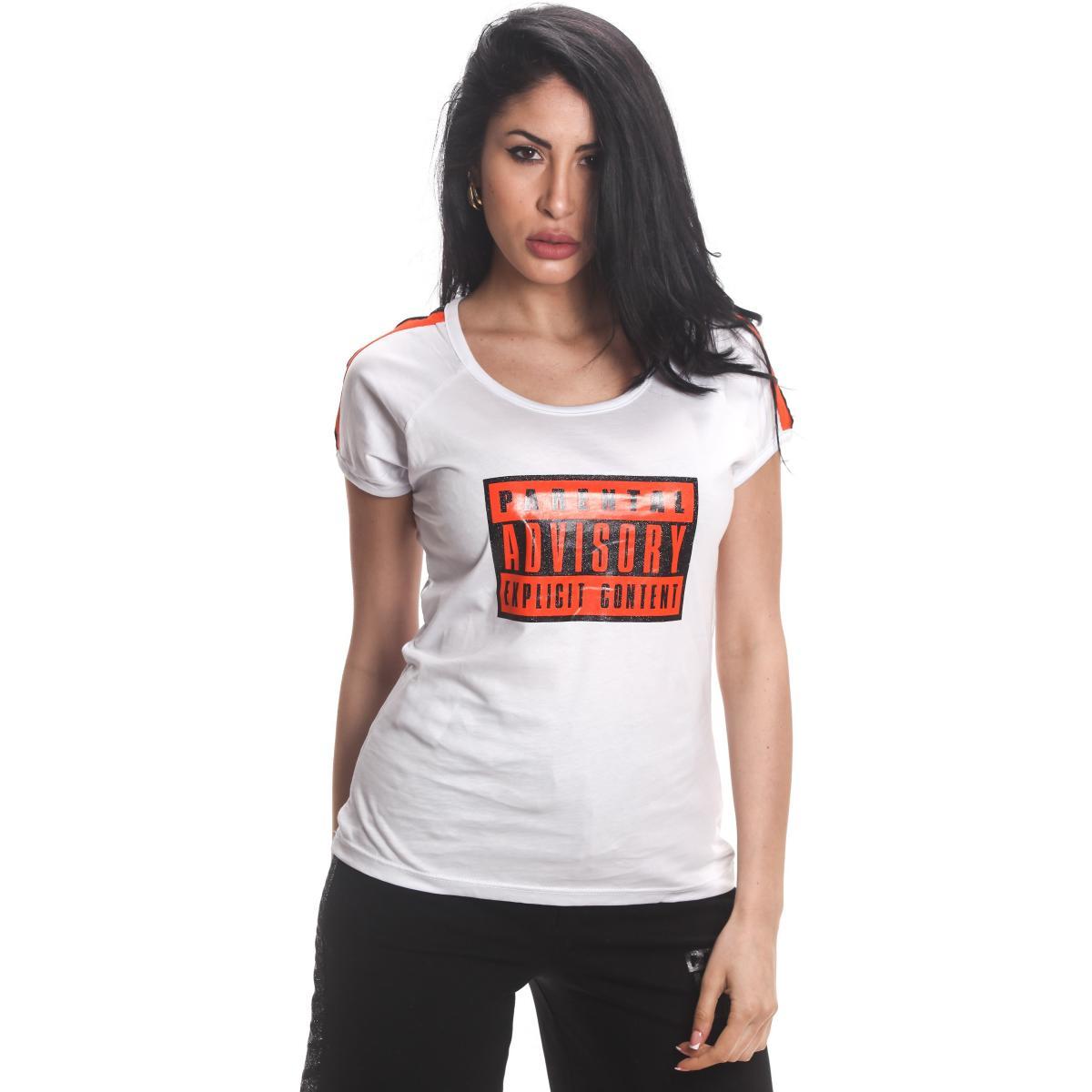 T-shirt Parental Advisory con scollo tondo e stampa logo da donna rif. AD228D