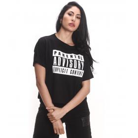 T-shirt maglia Parental Advisory con scollo tondo e stampa logo da donna rif. AD273D