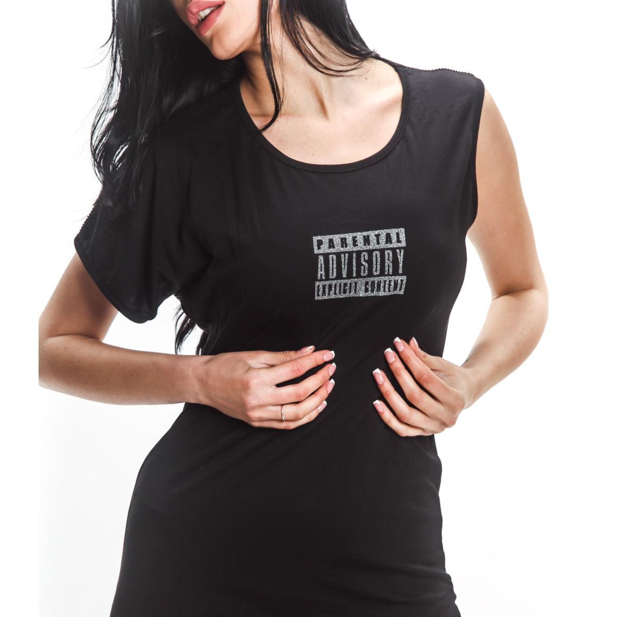 Vestitino smanicato Parental Advisory con stampa logo da donna rif. AD692D