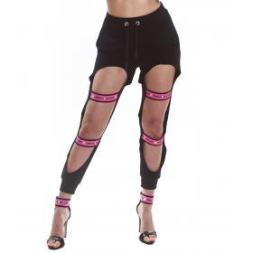 Pantalone tuta Parental Advisory strappato con elestici da donna rif. AD973D