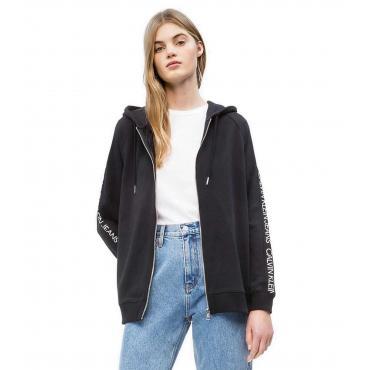 Felpa Calvin Klein Jeans con cappuccio e chiusura zip con logo da donna rif. J20J210531