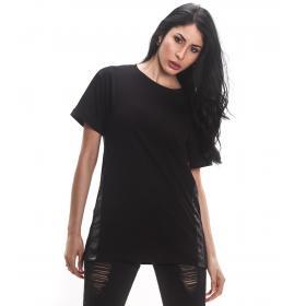 T-shirt H.U.N.T. in tinta unita con bande laterali da donna rif. HDC815