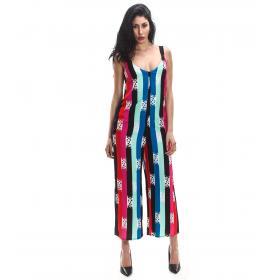 Tuta intera vestito Trussardi a righe multicolore da donna rif. 56D00214 1T002314