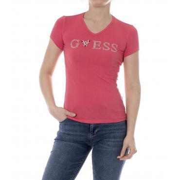 T-shirt GUESS logo con applicazioni gioiello da donna rif. W92I80K6YW0