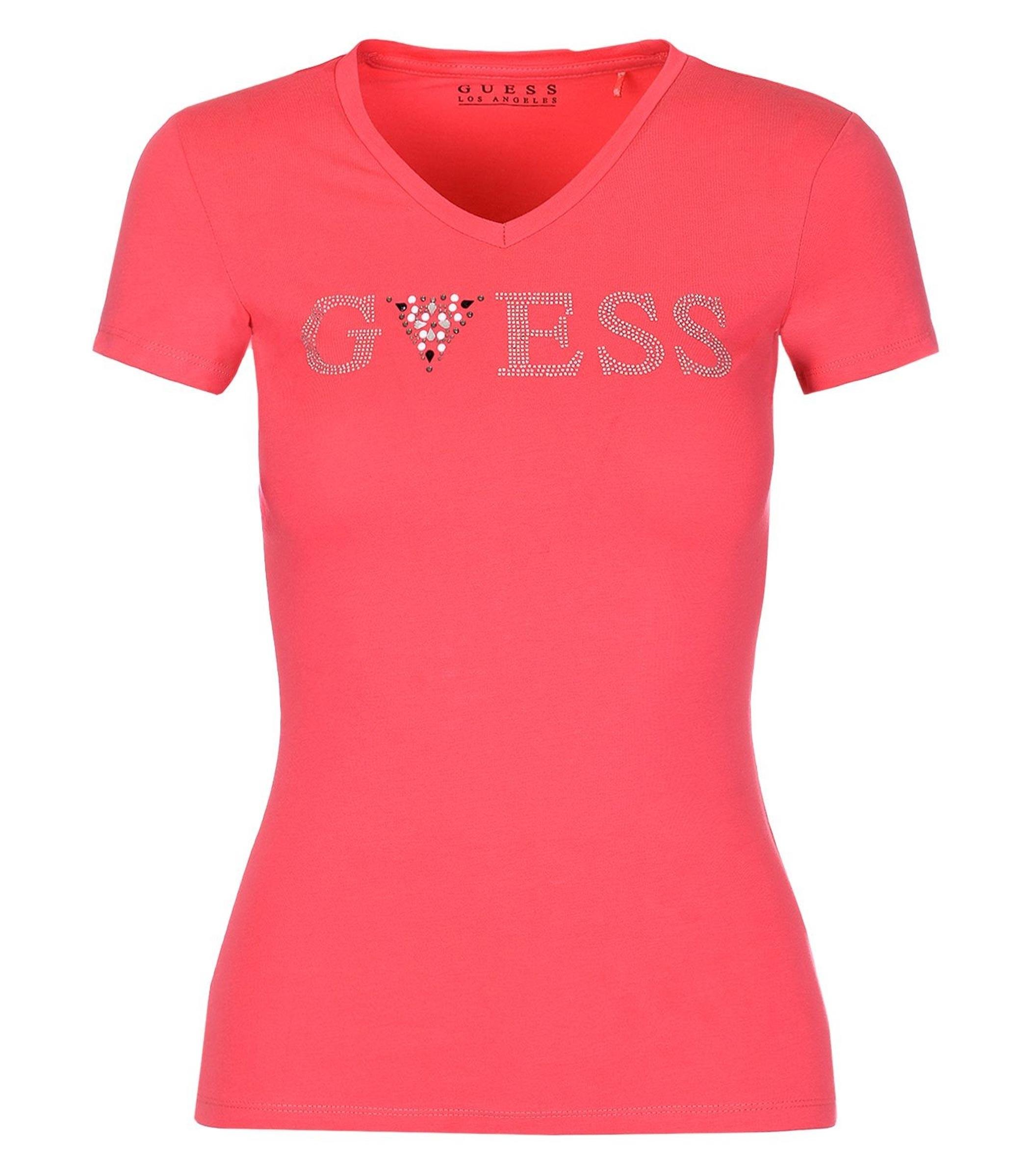 98ff72c0a4 T-shirt GUESS logo con applicazioni gioiello da donna rif. W92I80K6YW0