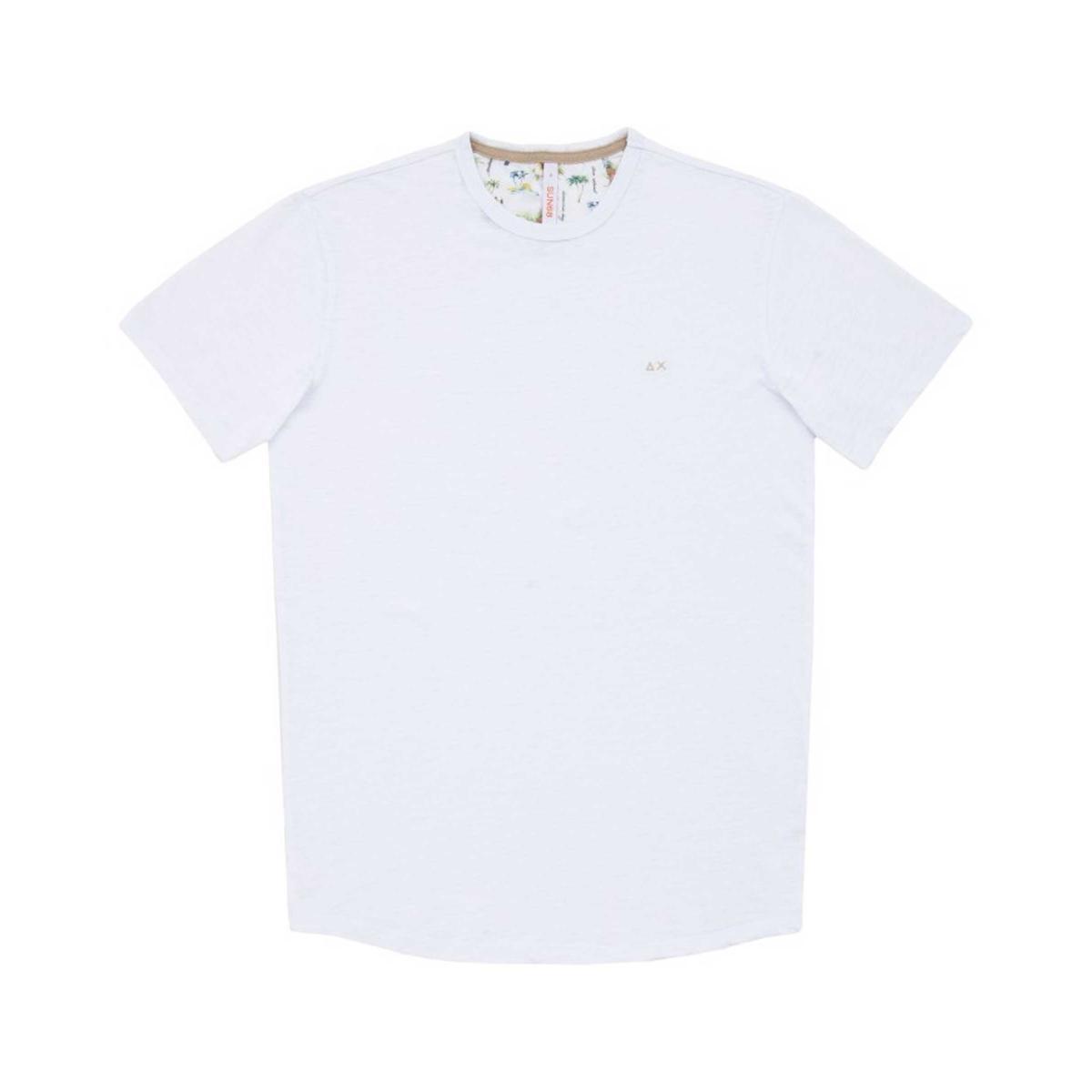 T-shirt SUN68 girocollo con mini logo sul petto da uomo rif. T19109